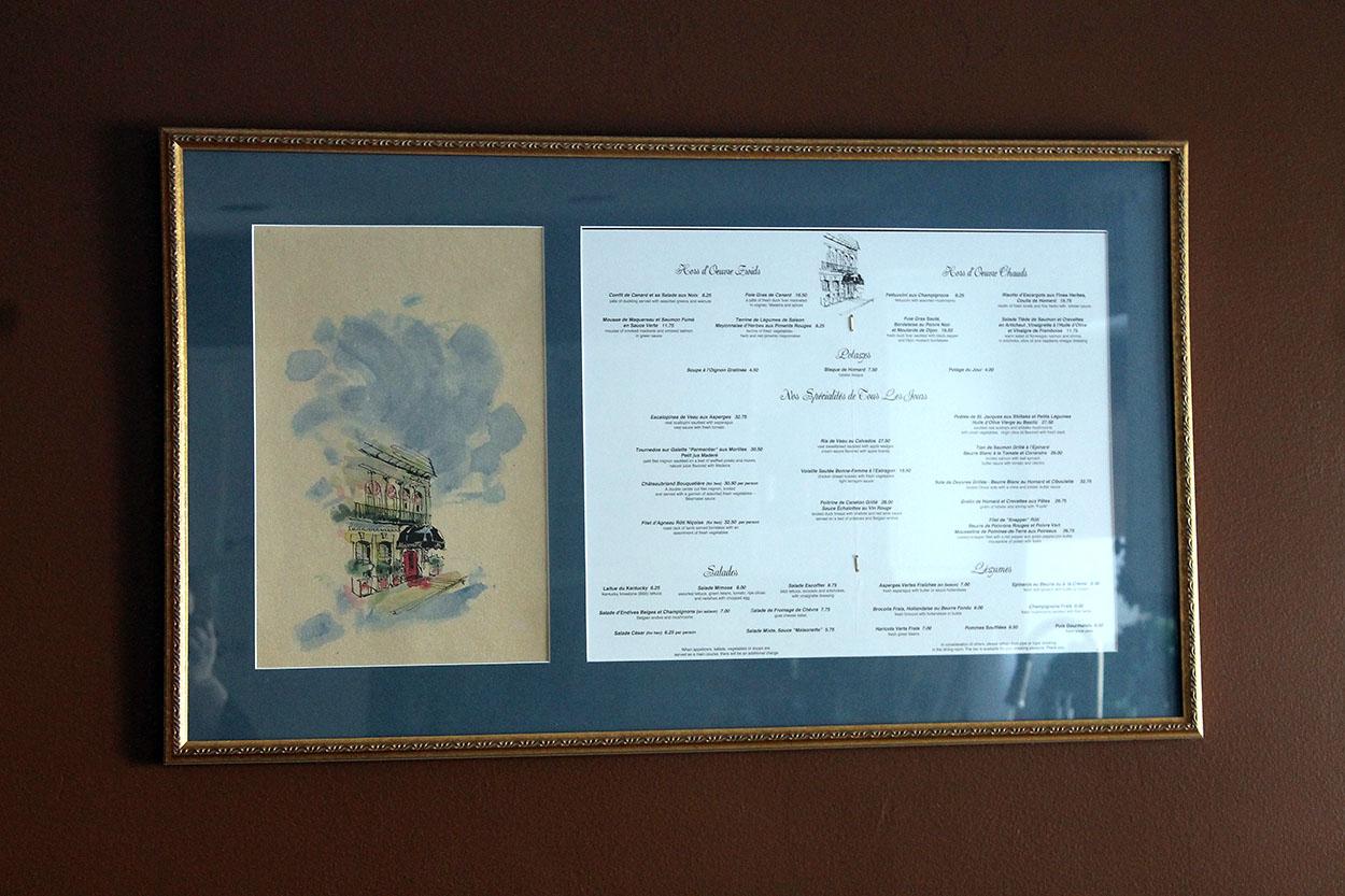 framed menus
