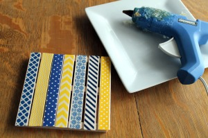 washi tape coasters | polka dots and picket fences